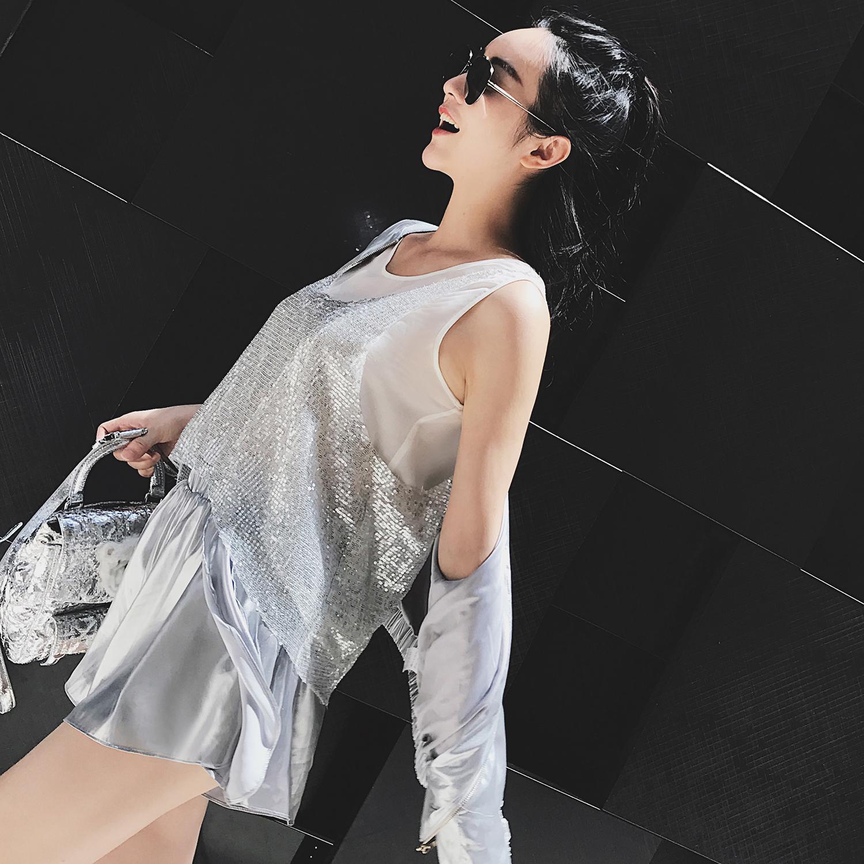 Топы/майки jjing Цзинцзин пользовательские двойной стек, чтобы носить смешивать и сочетать ветер блестками жилет супер флэш-Вау