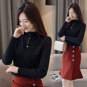 实拍新款毛衣女秋冬装韩版加厚长袖针织衫修身百搭打底衫上衣