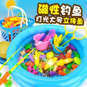 儿童磁性钓鱼池玩具宝宝1发光鱼戏水玩水池2-3周岁半广场益智套装