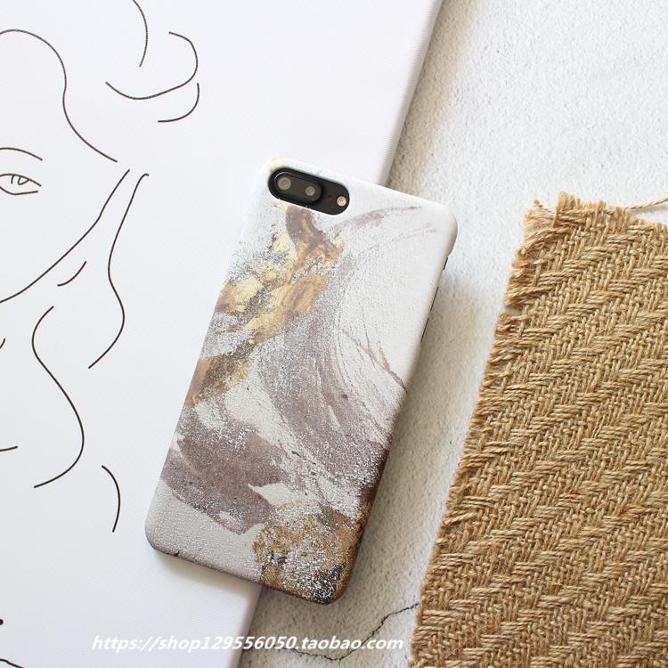 文艺水粉x苹果8plus手机壳iphone6s/7p磨砂创意个性韩国男女款套_7折