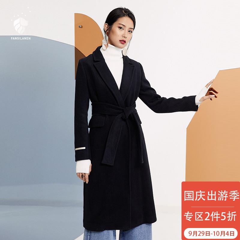范思蓝恩黑色羊毛呢子大衣女中长款2017新款冬装修身系带毛呢外套