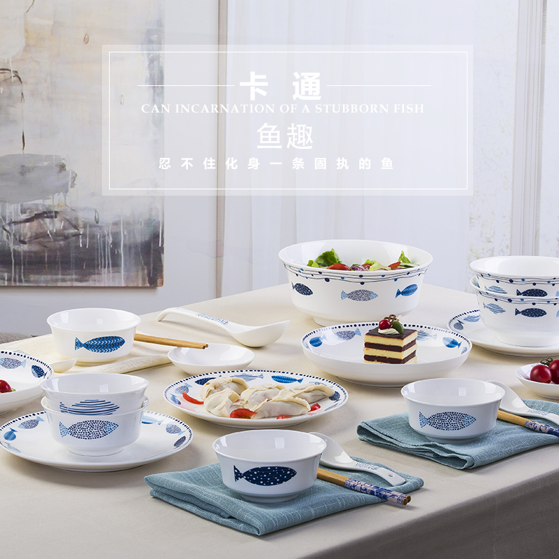 Jingdezhen ceramic dishes suit Japanese household, lovely dinner cutlery creative ipads porcelain bowl chopsticks pan spoon combination