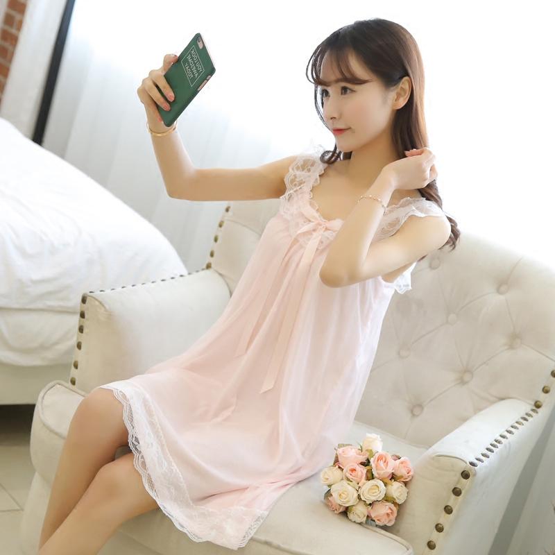 夏季性感吊带睡裙薄甜美蝴蝶结花边睡衣女韩版可爱蕾丝公主家居服