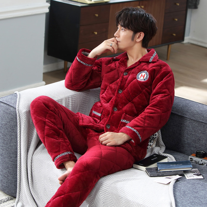 Winter pajamas thickened men's suit wine red winter plus cotton flannel men's home warm young people