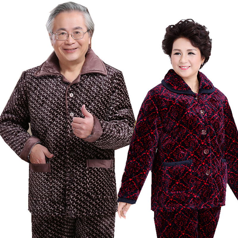 Mom and dad pajamas winter 5 60 70 80-year-old man's jacket home service men and women thick warm cotton