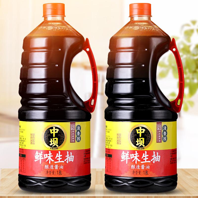 中华老字号,清香园旗下 中坝 鲜味生抽酱油 1800ml*2瓶