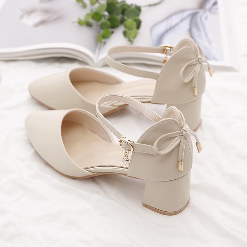 新款夏季仙女风包头凉鞋女鞋一字带防滑高跟鞋粗跟中跟百搭单鞋
