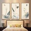 新中式客厅装饰画三联水墨画荷花画挂画禅意壁画竖沙发背景墙