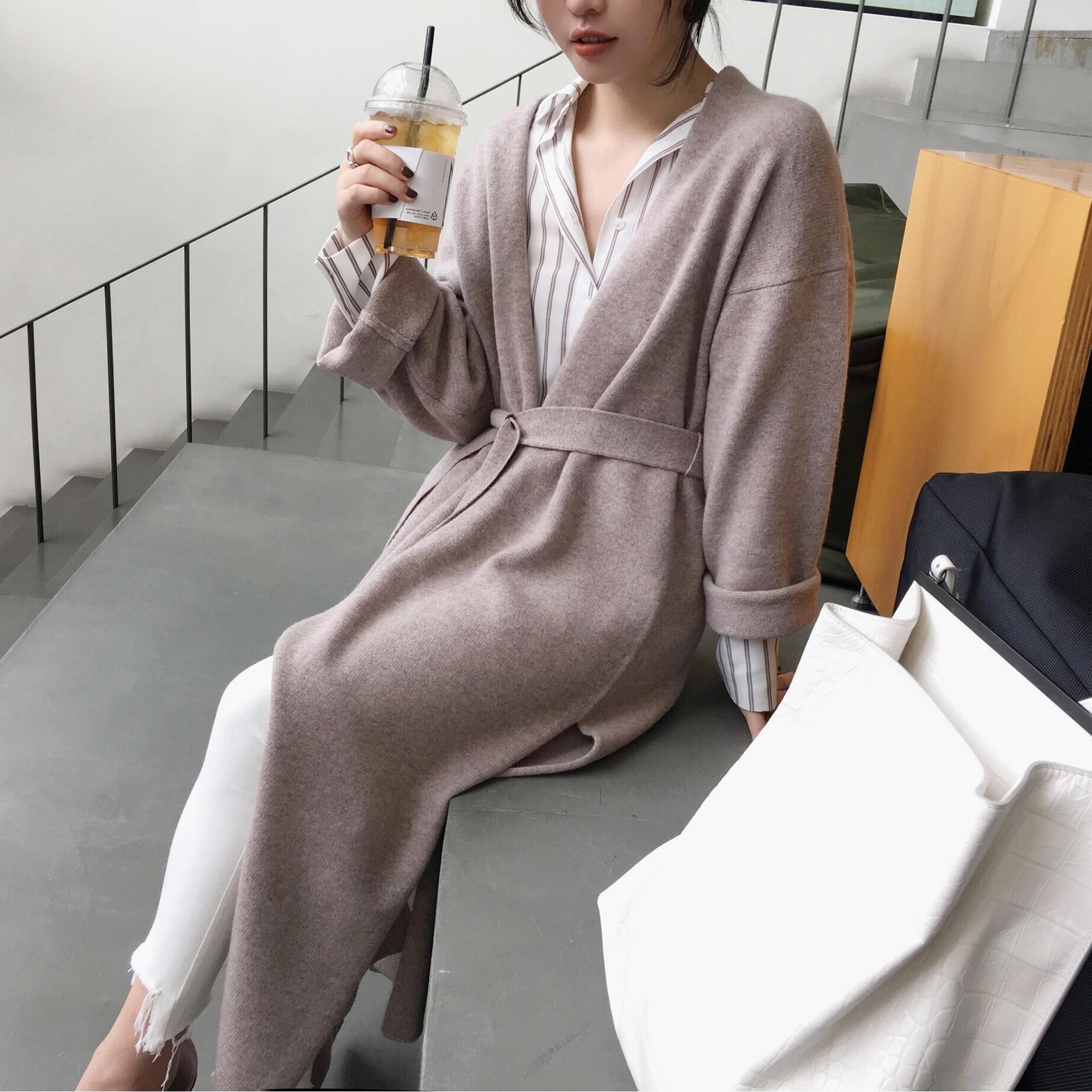 ◆ASM◆2017秋装新款 全羊毛过膝超长款针织开衫开叉毛衣外套女装