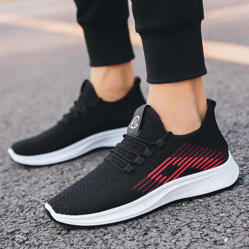 2020男鞋夏季新款飞织运动鞋男士休闲韩版跑步鞋系带耐磨潮鞋