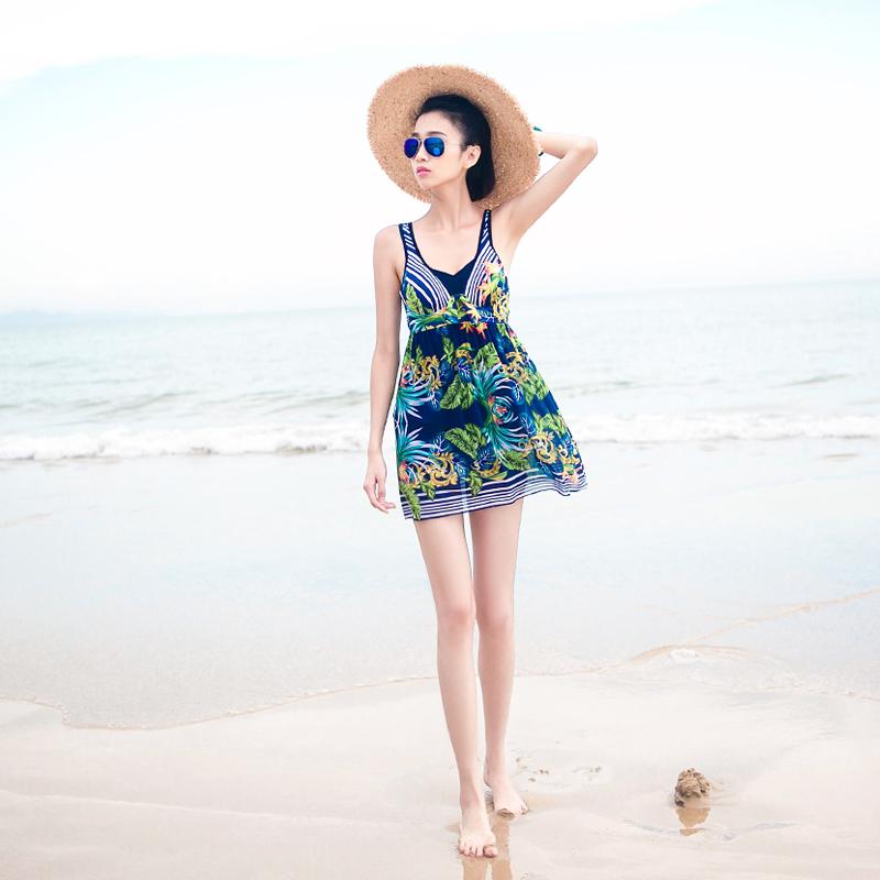 保守修身显瘦遮肚泳装连体裙式平角钢托聚拢小胸温泉时尚游泳衣女
