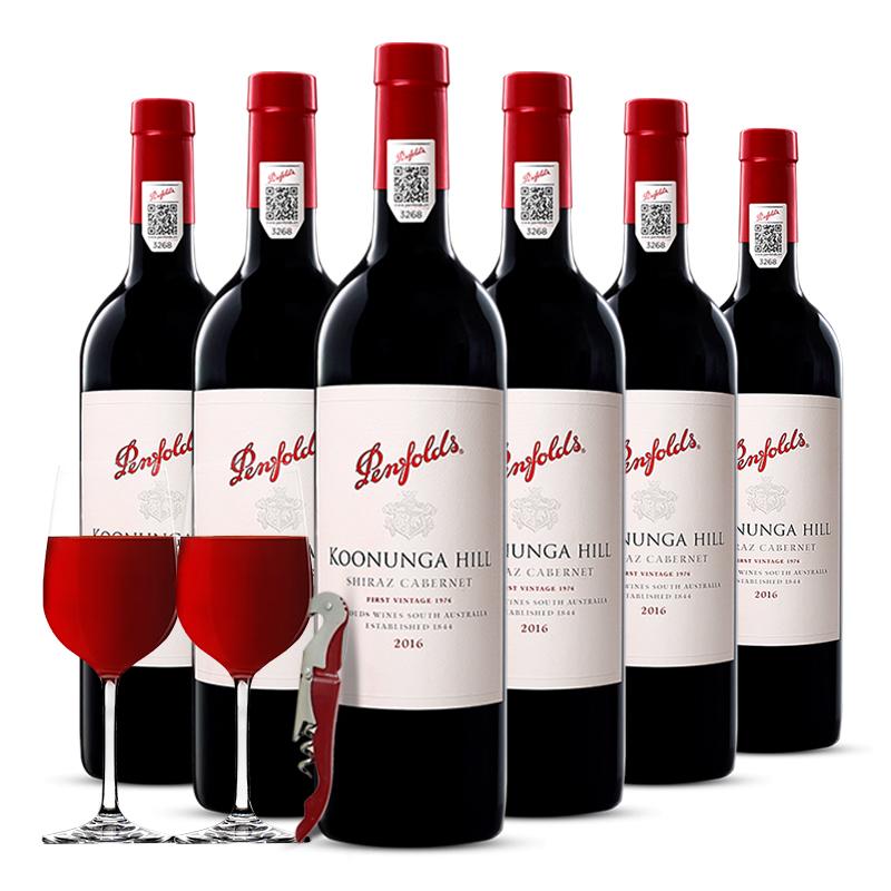 澳洲进口红酒Penfolds奔富寇兰山-蔻兰山干红葡萄酒6支整箱送酒具