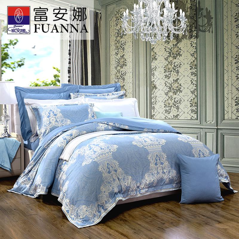 富安娜家纺纯棉提花四件套时代广场全棉套件床单被套双人1.8米