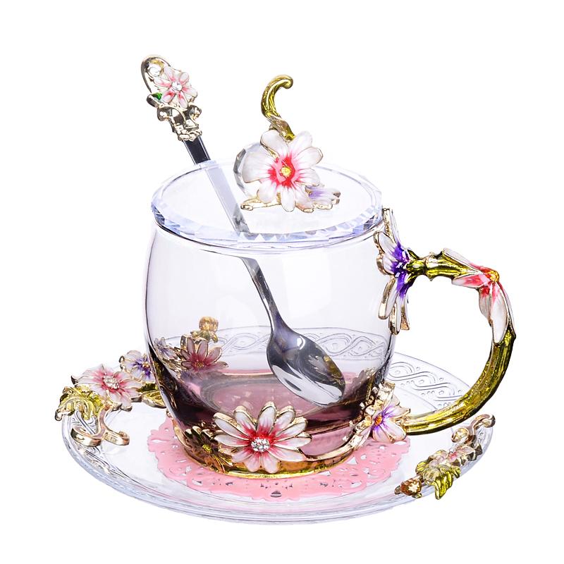 クリエイティブエナメルカップ花茶カップジュースカップ耐熱水晶グラスの家庭用コーヒーカップカップルカスタマイズ,タオバオ代行-代行奈々