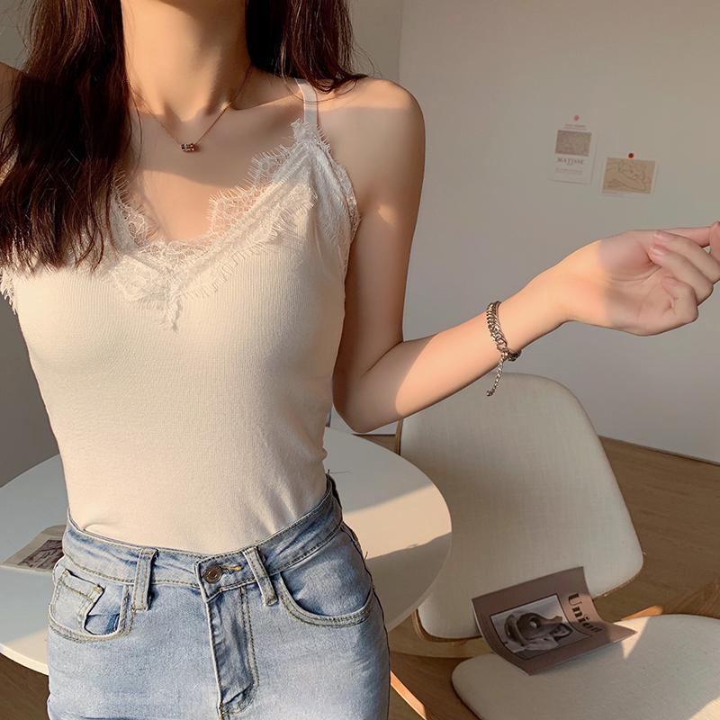 蕾丝针织吊带背心女夏季2021新款韩版西装内搭打底衫短款上衣外穿