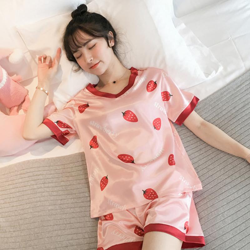 睡衣女夏季冰丝薄款短袖两件套装可外穿韩版仿真丝学生可爱家居服