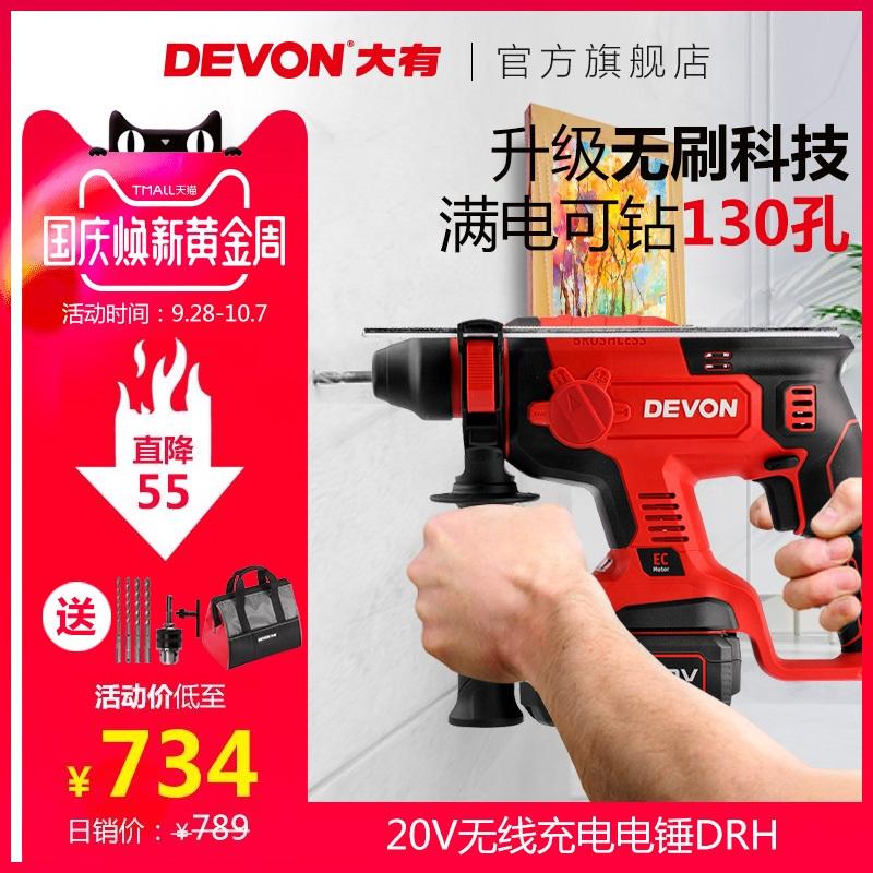 大有无刷多功能冲击钻工业级混凝土充电电锤大功率电动工具DRH