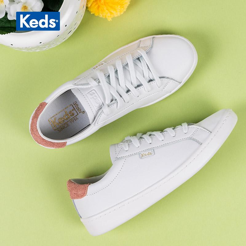 Keds旗舰店秋季女鞋皮质板鞋百搭休闲鞋小白鞋低帮鞋单鞋WH57442