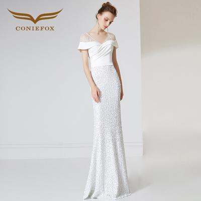 创意狐白色礼服女2018新款时尚宴会主持人礼服名媛气质鱼尾连衣裙