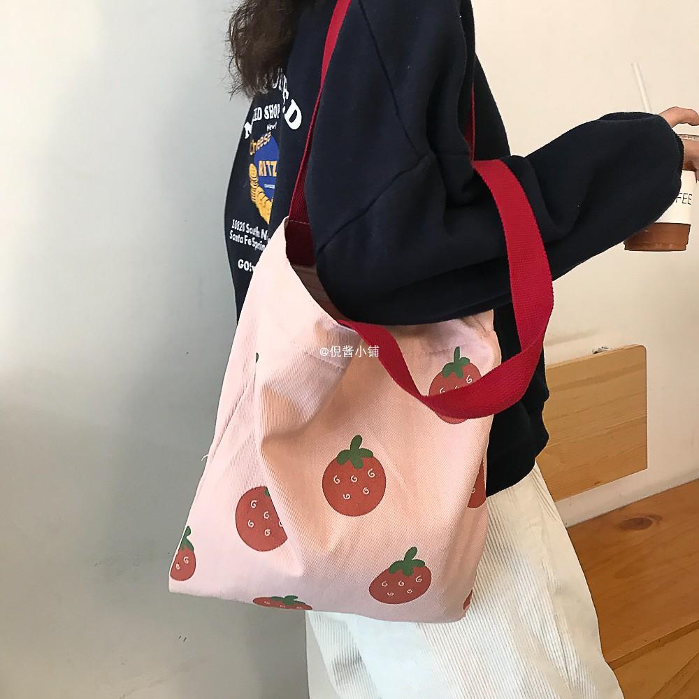 倪酱小铺大草莓日系学生大容量帆布袋ins韩版可爱单肩包女文艺