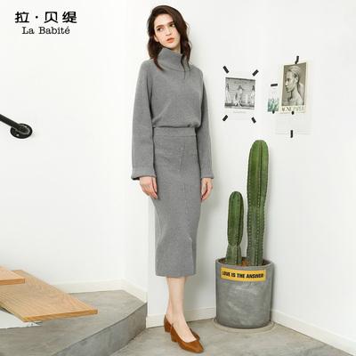 2018秋冬季新款韓版ulzzang時尚高領針織毛衣套裝裙時髦兩件套女