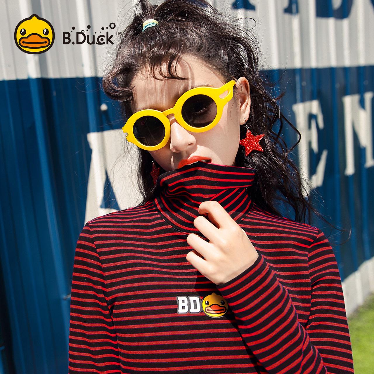 B.Duck小黄鸭ICONIC女装2018秋新款长袖条纹T恤女字母高领打底衫