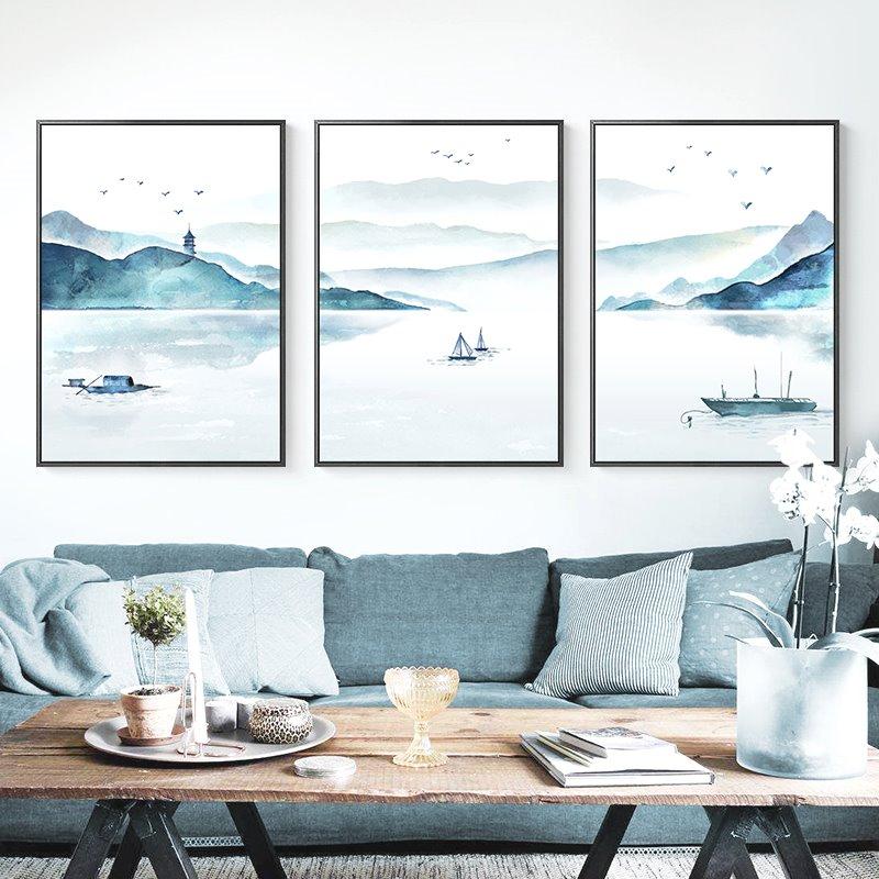 有框风景客厅装饰画现代三联画艺术新中式家居饰品山水书房