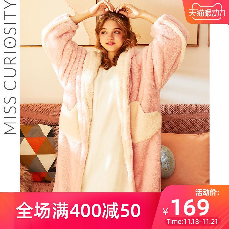 好奇蜜斯加厚保暖可外穿长款睡袍家居服卡通可爱珊瑚绒睡衣女冬季