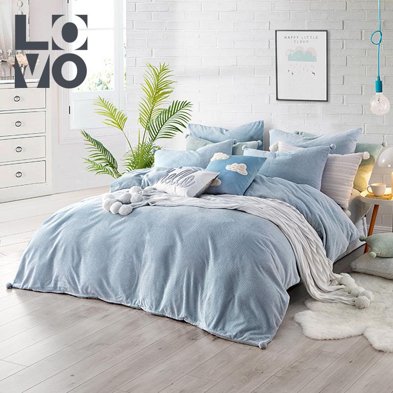 lovo家纺四件套床上用品贝贝绒素色简约时尚被套床单1.5-1.8m床