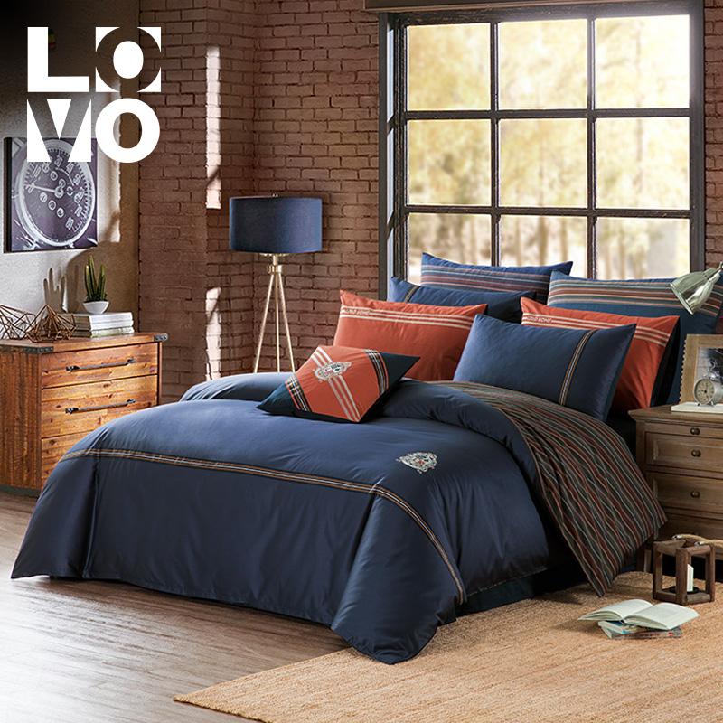 LOVO家纺床上用品四件套件60支全棉纯棉时尚条纹图案被套床单