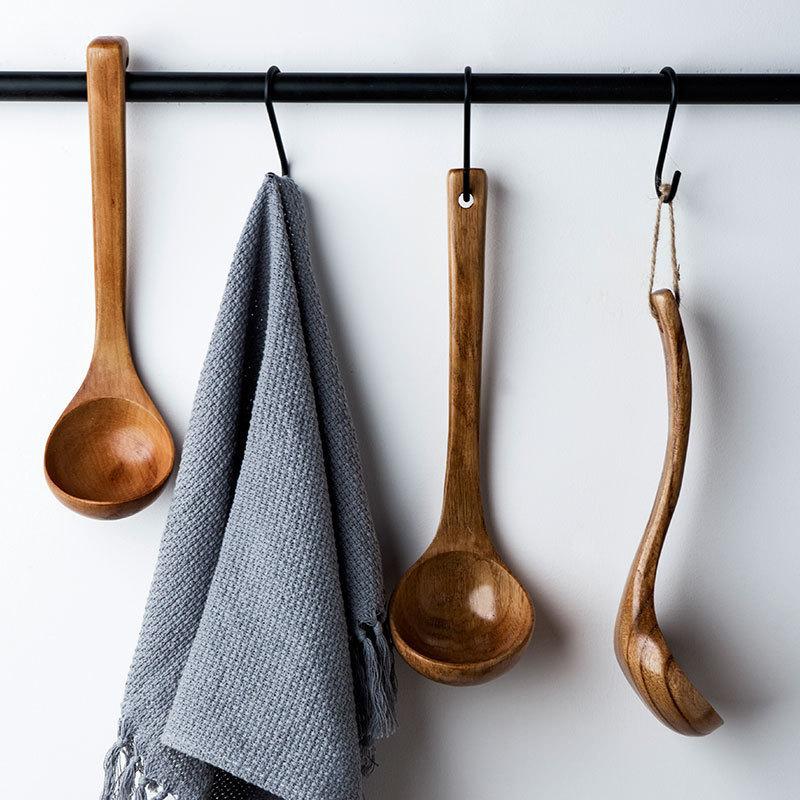 日式木质勺子长柄带钩大汤勺盛粥勺稀饭勺大号木头勺子火锅勺家用