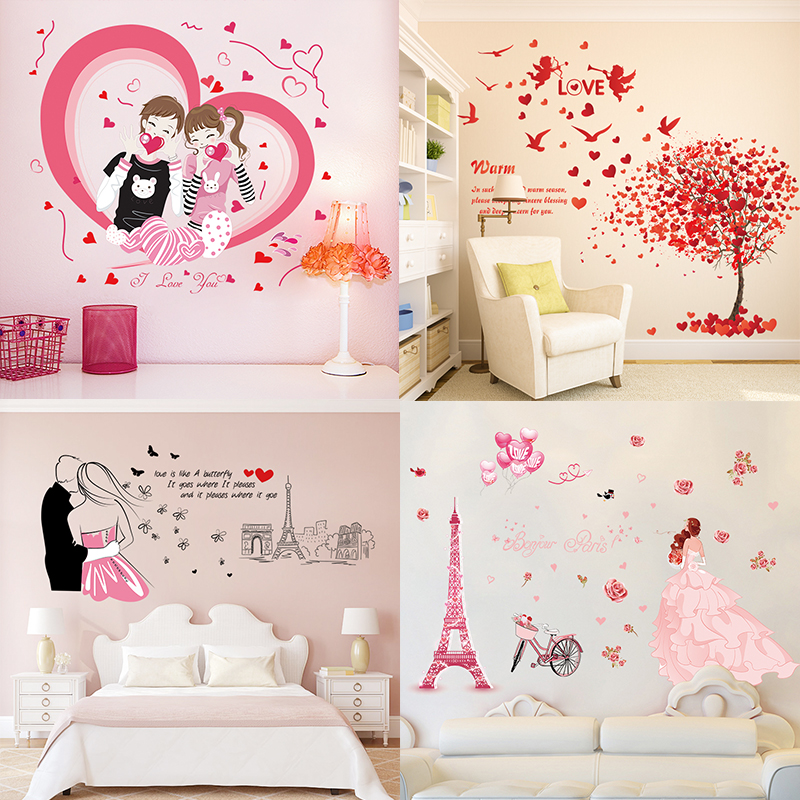 Wallpaper self adhesive bedroom warm and romantic bedside for Wallpaper home goods