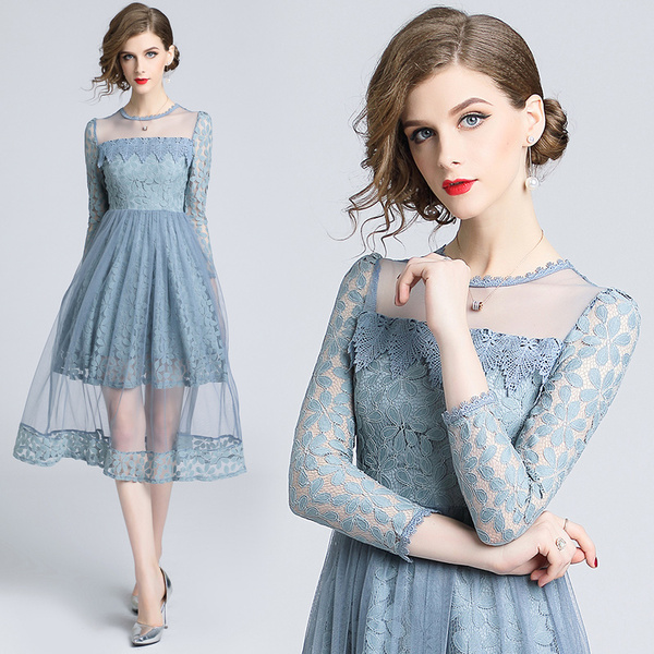 Real Shot Europe And The United States New Slim Slimming Lace Stitching Mesh Dress