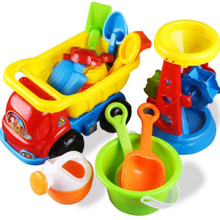 儿童节沙滩戏水玩具车套装大号宝宝桶铲子玩沙挖沙工具决明子洗澡