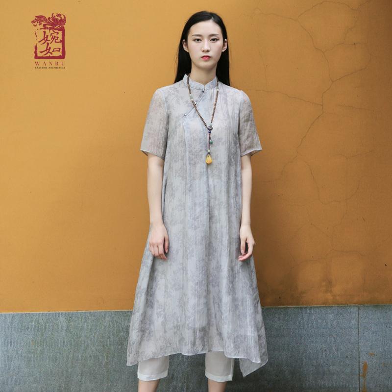 2018新款夏天夏装夏款短袖中长款长裙连衣裙女印花荷叶边中国风女