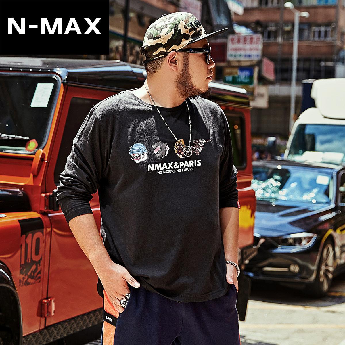 NMAX大码男装潮牌 胖子秋季加肥加大上衣肥佬宽松纯棉打底长袖T恤