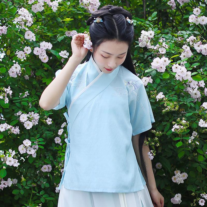 重回汉唐朝歌 原创品牌绣花日常汉服女夏季遮阳夏季交领半臂单品