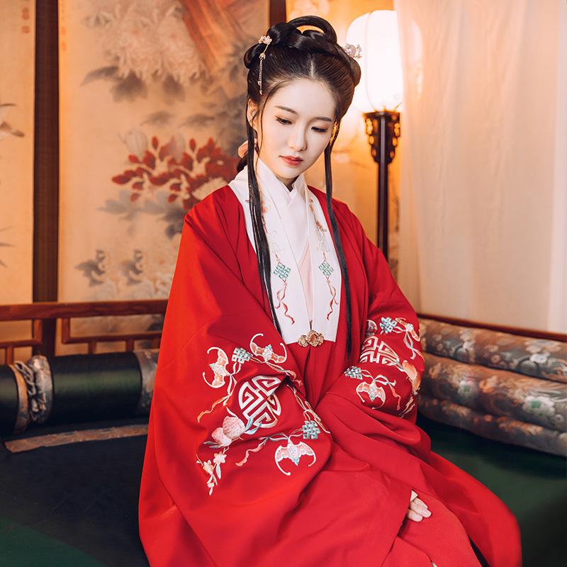 重回汉唐汉服女四季平安传统红色明制披风中国风古日常款秋冬外套