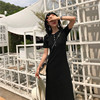 Real Shot 2018 Summer New Short-Sleeved Round Neck Buckle Large Swing Slim Black Long Dress