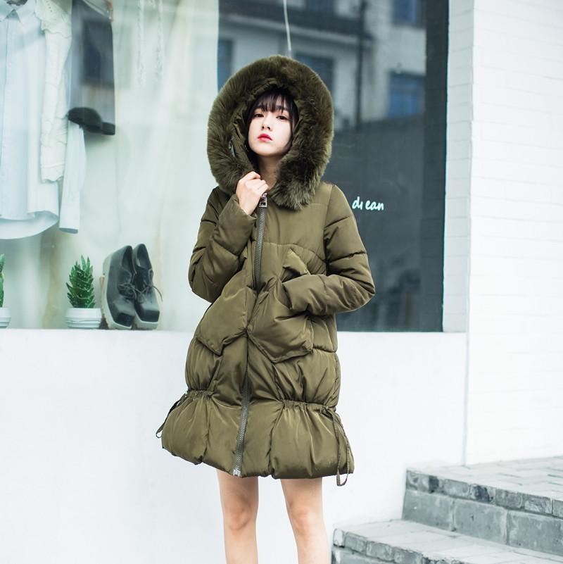 鱼尾裙摆羽绒棉服淑女韩版中长款大毛领棉衣女学生加厚冬装外套