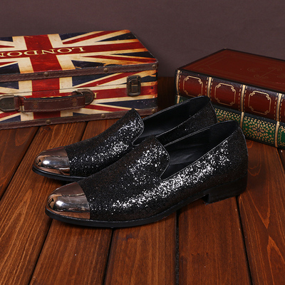 16 spring new fashion Le Fu shoes men's casual shoes personality wild breathable leather shoes sequins British tide
