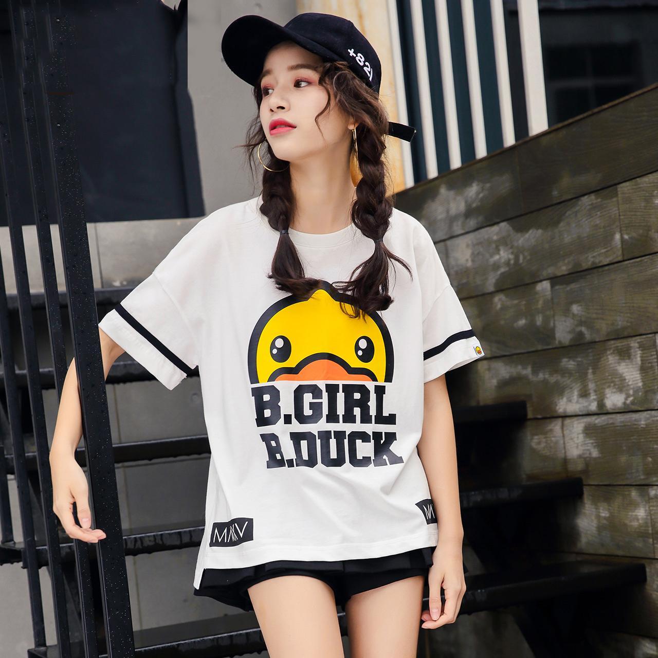 duck小黄鸭2017夏新款时尚印花白色短袖t恤女宽松上衣打底衫潮