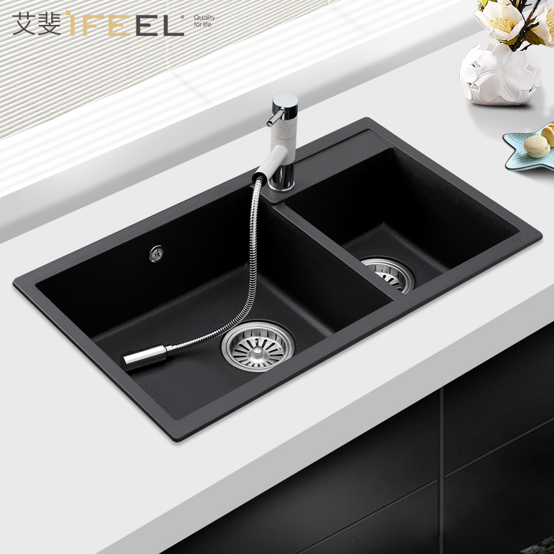 艾斐石英石水槽大单槽厨房洗菜盆洗碗池花岗岩手工双槽套餐480
