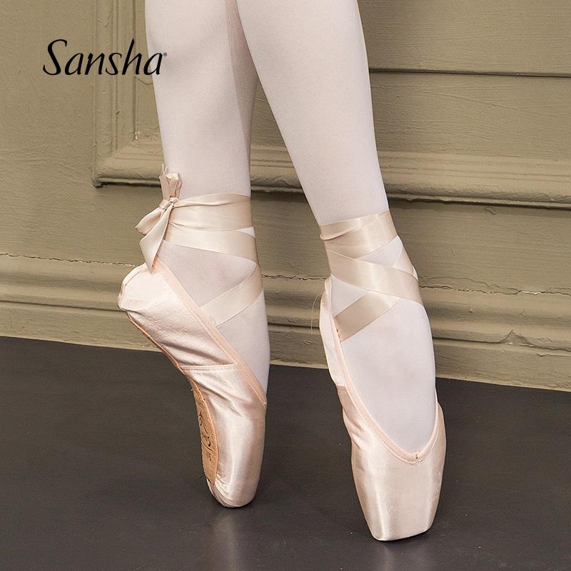 Sansha 法国三沙公主芭蕾舞足尖鞋缎面练功鞋纸底舞蹈鞋硬鞋DP802