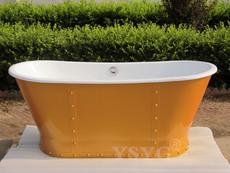 简约复古欧式浴缸不锈钢裙边1.7米铸铁浴缸 法国设计风独立浴缸