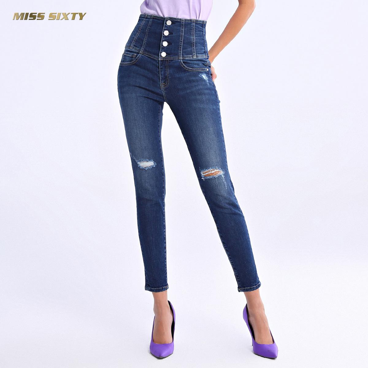 B Miss Sixty2018新款秋季紧身裤铅笔裤长裤破洞高腰牛仔裤女