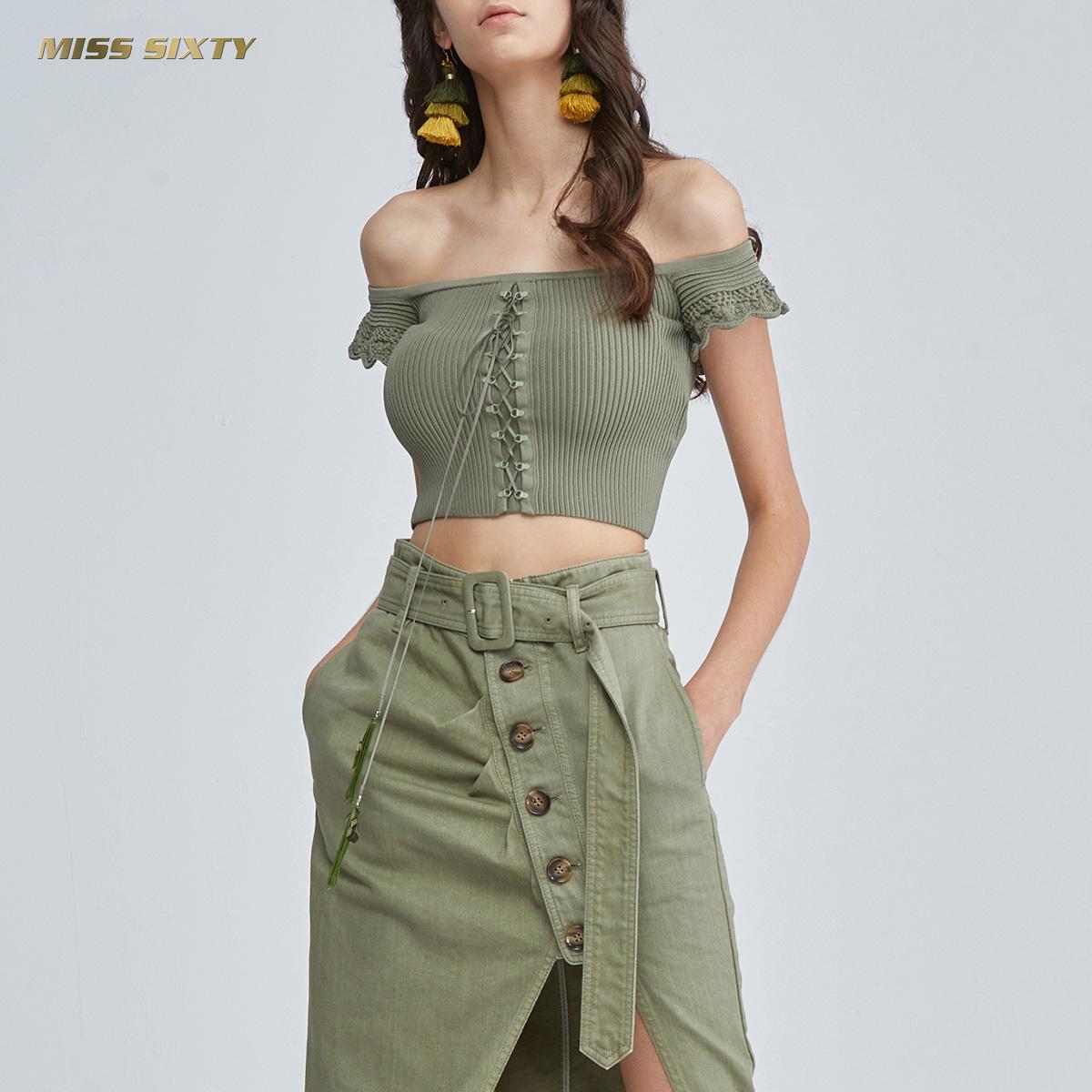 B Miss Sixty2018新款夏季一字领绑带短袖套头衫女682RJ1020000