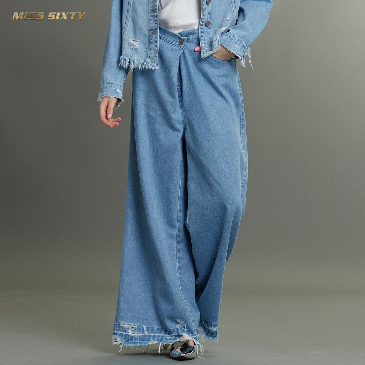C Miss Sixty秋季中腰纯棉直筒裤阔腿裤长裤毛边牛仔裤女宽松