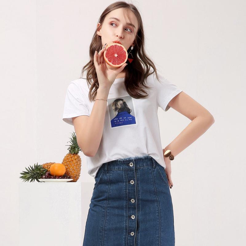 百图头像白色T恤女短袖圆领韩版印花chic上衣2018夏装新款1806T54