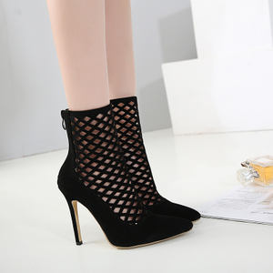 European station 2018 new sexy suede openwork mesh 11cm super high heel stiletto pointed female sandals